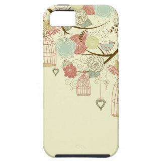 Rosas románticos, pájaros, birdcages, vintage funda para iPhone SE/5/5s