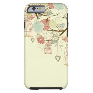 Rosas románticos, pájaros, birdcages, vintage funda resistente iPhone 6
