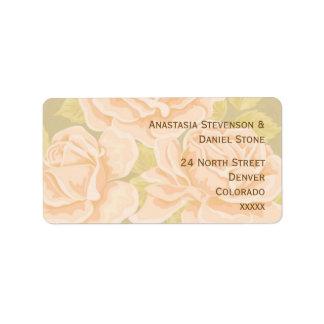 Rosas románticos rosados del vintage con la flor etiquetas de dirección