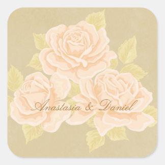 Rosas románticos rosados del vintage con la flor pegatina cuadrada