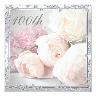 """Rosas románticos y 100a fiesta de cumpleaños de invitación 5.25"""" x 5.25"""""""