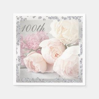 Rosas románticos y 100a servilleta del cumpleaños servilletas de papel