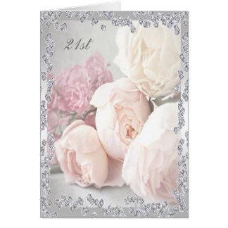 Rosas románticos y cumpleaños de los diamantes tarjeta de felicitación
