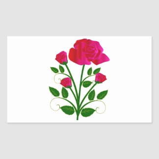 Rosas rosáceos hermosos pegatina rectangular