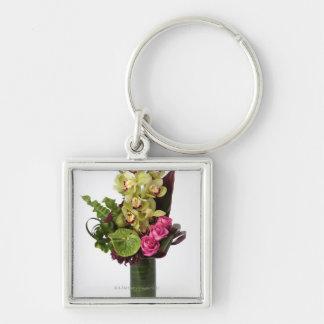 Rosas rosados, Anthurium verdes, orquídeas del Llavero Cuadrado Plateado