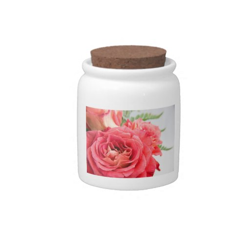 Rosas rosados aterciopelados tarro de cerámica para dulces