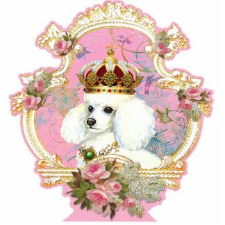 Rosas rosados blancos de la princesa n del caniche escultura fotográfica