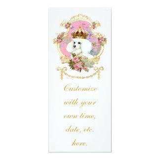 """Rosas rosados blancos de la princesa n del caniche invitación 4"""" x 9.25"""""""