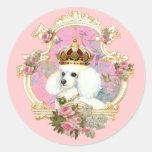 Rosas rosados blancos de la princesa n del caniche pegatinas redondas