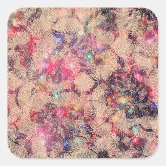 Rosas rosados bonitos del cordón pegatina cuadrada