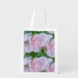 Rosas rosados bonitos florales bolsa reutilizable