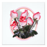 Rosas rosados bonitos invitación 13,3 cm x 13,3cm