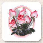 Rosas rosados bonitos posavasos de bebidas