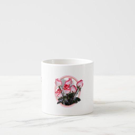 Rosas rosados bonitos tazas espresso