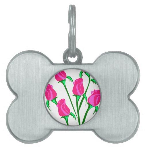 Rosas rosados brillantes placas de mascota
