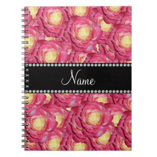 Rosas rosados conocidos personalizados libros de apuntes