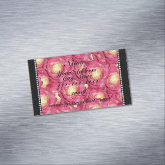 Rosas rosados conocidos personalizados tarjetas de visita magnéticas (paquete de 25)
