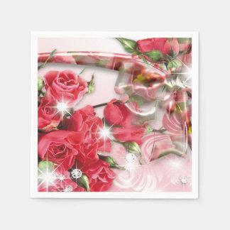 Rosas rosados de fascinación servilletas de papel