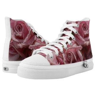 Rosas rosados de la acuarela - altos zapatos zapatillas