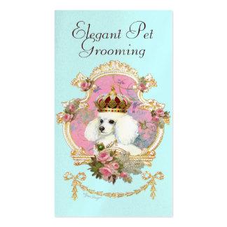 Rosas rosados de la princesa n del caniche plantilla de tarjeta de negocio