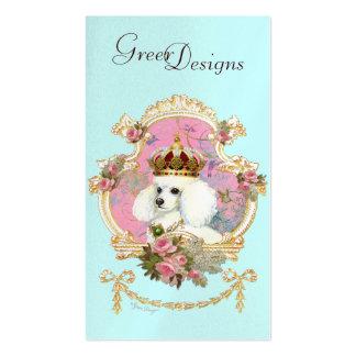 Rosas rosados de la princesa n del caniche plantillas de tarjeta de negocio