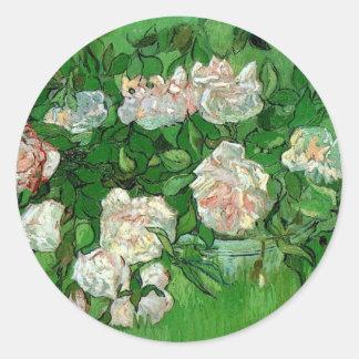 Rosas rosados de Van Gogh, bella arte del jardín Pegatina Redonda
