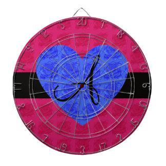 Rosas rosados del azul del monograma de los rosas tablero de dardos