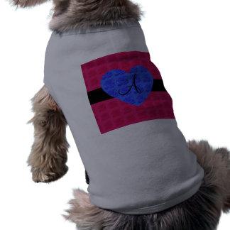 Rosas rosados del azul del monograma de los rosas camisetas de mascota