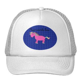Rosas rosados del azul del unicornio gorras