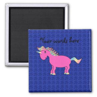 Rosas rosados del azul del unicornio imán cuadrado