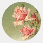 Rosas rosados del jardín del vintage para el el pegatina redonda