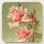 Rosas rosados del jardín del vintage para el el posavasos