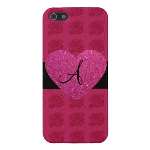 Rosas rosados del monograma del corazón iPhone 5 funda