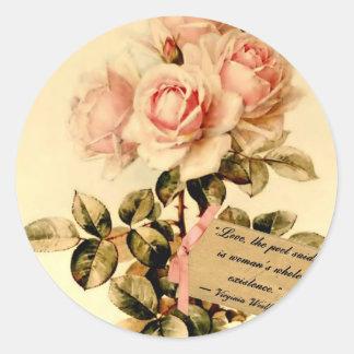 Rosas rosados del Victorian con cita de motivación Pegatina Redonda