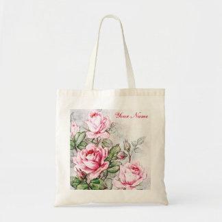 Rosas rosados del vintage bolsa lienzo