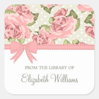 Rosas rosados del vintage de la cinta calcomanías cuadradass personalizadas