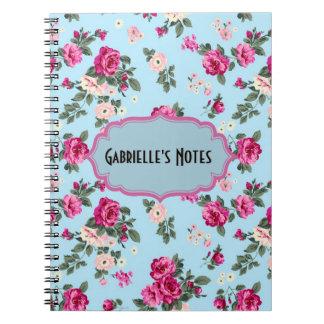 Rosas rosados del vintage en fondo azul libretas