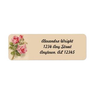 Rosas rosados del vintage etiquetas de remite