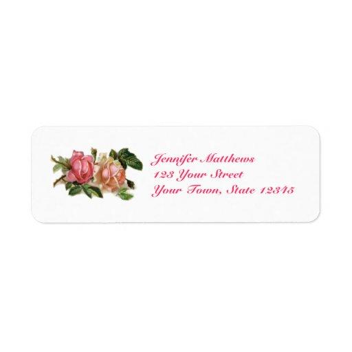 Rosas rosados del vintage etiqueta de remite