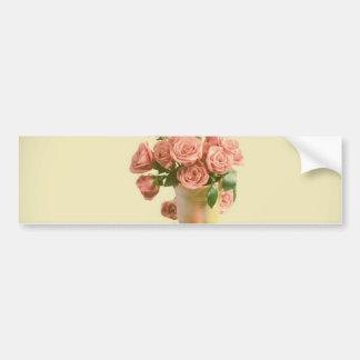 Rosas rosados del vintage. Flores retras Pegatina Para Auto