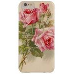 Rosas rosados del vintage funda de iPhone 6 plus barely there