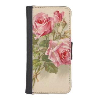 Rosas rosados del vintage fundas cartera de iPhone 5
