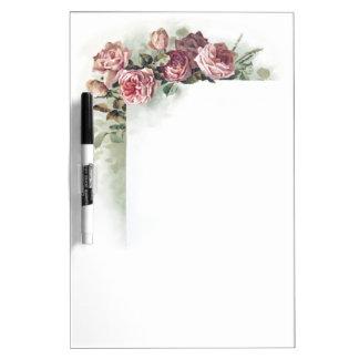 Rosas rosados del vintage pizarras blancas de calidad