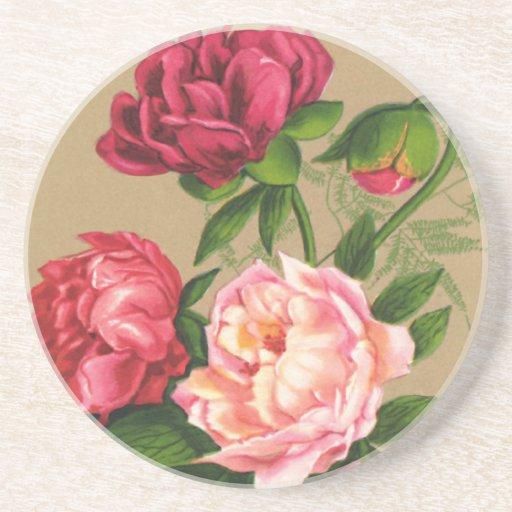 Rosas rosados del vintage posavasos diseño