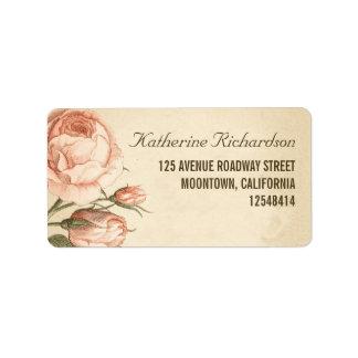 rosas rosados del vintage que casan etiquetas de etiqueta de dirección