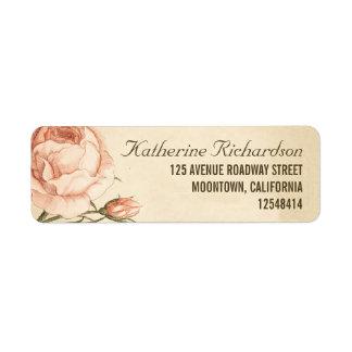 rosas rosados del vintage que casan etiquetas de d etiquetas de remite