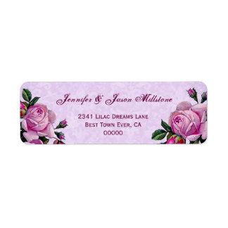 Rosas rosados del vintage que casan la etiqueta etiquetas de remite