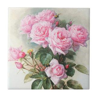 Rosas rosados del vintage que pintan la teja