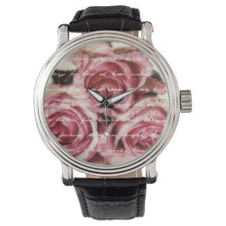 Rosas rosados del vintage reloj de mano