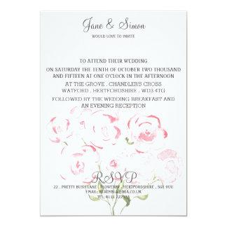 """Rosas rosados del Watercolour que casan la Invitación 5"""" X 7"""""""